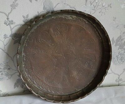 """A Large Vintage Copper Pie Crust Tray 15.5"""""""