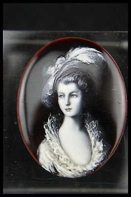 19Th Limoges Enamel Marie Antoinette Handpainted Unmounted French Cameo Unsigned