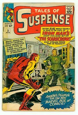 Tales Of Suspense #51 Gd 2.0 1St Scarecrow Iron Man Comic 1964
