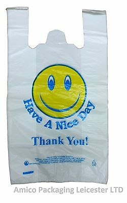"100 Smiley Thankyou Carrier Bags Plastic Vest Strong 12"" X 18"" X 22"" 23Mu"