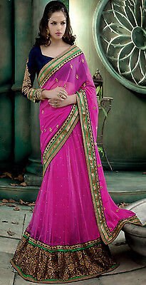 Pink Indian Designer Party Wear Lehenga Saree Bollywood Bridal Wedding Sari