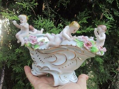 Antique German Meissen Dresden Porcelain Bowl With Angels Cherubs Figurine