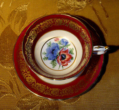 Paragon Tea Cup & Saucer Poppy Center Cream & Burgundy Bands Gold Trim A2108