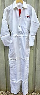 "Goodwood Revival Classic Vintage Style White Esso Badged Overalls 36"" Chest"