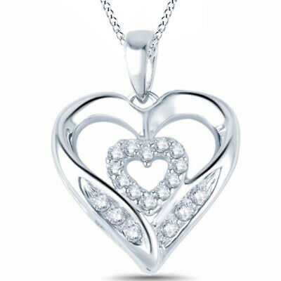 Natural Diamond Double Heart Pendant Necklace 14k Gold Over 925 Sterling Silver