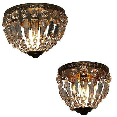 Pair of small antique Flush Mounts, France circa 1940s Art Deco Glass and Brass