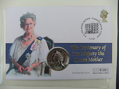 Centenary Of Queen Mother £5.coin And Stamp Cover - Mercury 01351