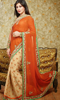 Rusty Orange Indian Designer Party Wear Saree Bollywood Bridal Wedding Sari