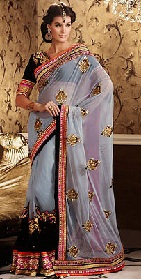 Gray Soft Net Indian Designer Party Wear Saree Bollywood Bridal Wedding Sari
