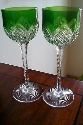 SAINT LOUIS FRANCE TWO GREEN CUT TO CLEAR Crystal Wine Hock Glasses ANTIQUE