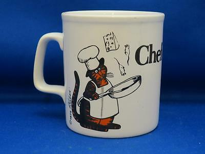 Vtg Kliban Orange Black Striped CHEF CAT Mug Cooking Kiln Craft England 1979