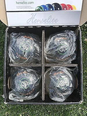 HENSELITE TIGER BOWLS SIZE 4 Dated 2013 In VG Condition. Plus Bowls Bag.
