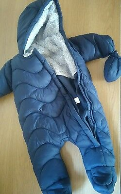 boys navy blue snow suit with gloves age up to 3months