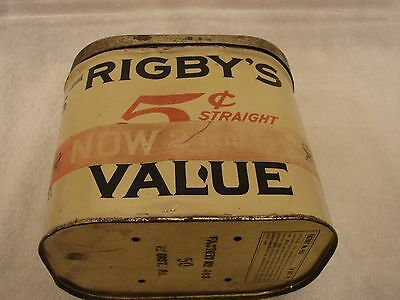 Rigby's Value 5 Cent Cigar Tin 50 Count Factory 463 1St Dist. Mansfield Ohio Nra
