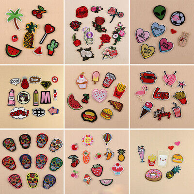 11 Style DIY Embroidered Iron on Patch Clothes Fabric Sticker Badge Applique Hot