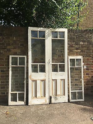Reclaimed Old Double French Panel Wooden Timber Door Matching Side Panel Windows