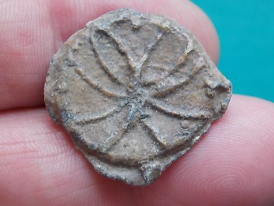 nice medieval lead flower / wheel token find metal detecting detector finds