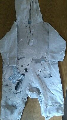 boys grey with polar bear detail suit aged 0-3 months