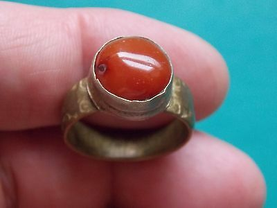 nice ancient ring with a red center metal detecting detector finds
