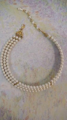Vintage 3 Strand Faux Pearl Choker Bridal Necklace Gold Tone Bars Adjustable