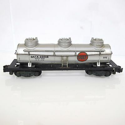American Flyer S Gauge Vintage # 926 Gulf Three Dome Tank Car