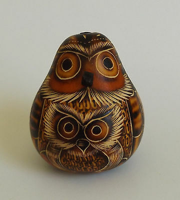 """3""""T Engraved Gourd Owl Bird With Baby Home Decor Figure New"""