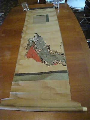 "Superb Chinese vintage early handscroll ink painting woman w/ hair down 54"" fair"
