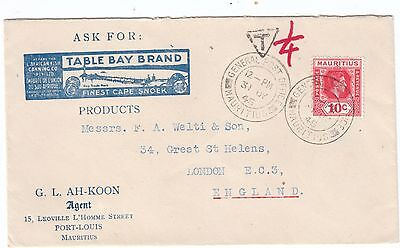 1945 Advertising Postage Due cover to London