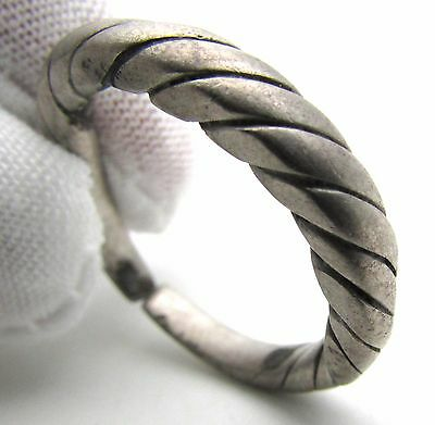 "Viking Era Silver ""twisted"" Ring - Wearable Historical Ancient Artifact - F299"