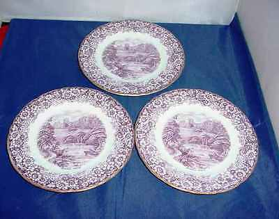 HM Sutherland China Purple Transfer Historical Britain Bothwell 3x Side Plates
