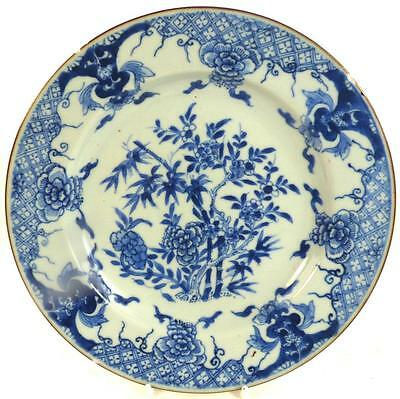18Th Century Chinese Qianlong Porcelain Blue & White Plate Bamboo & Blossom
