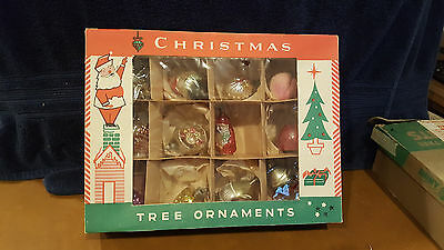 12 Small Antique German Feather Tree Mercury Glass  Indent Christmas Ornaments 2