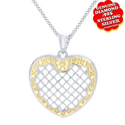 Yellow Natural Diamond Heart Pendant 14K White Gold Over 925 Sterling Silver