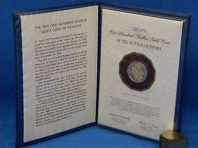 1975 One Hundred Balboa Gold Coin Of The Republic Of Panama With Coa