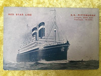 Red Star Line S.S. PITTSBURGH (Pennland) Postcard 1925