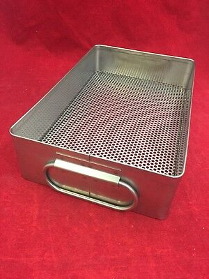 "Stainless Steel Instrument Tray w/Perforated Bottom & Handles 10""x6.5""x2.5"""