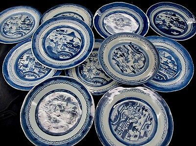 Antique 18th Century Chinese Export Blue Canton 11 Plates 7""