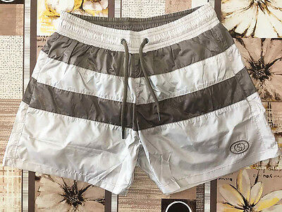 GUCCI Men's Swim Shorts, Beige and Brown Swimming Trunks Size S