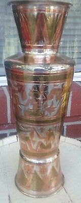 "Antique CAIRO WARE 11"" Vase Egyptian Décor Silver overlay on Copper"