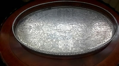 Beautiful Lg Vintage Viners of Sheffield Alpha Plate Tray (Chased Silver Plated)