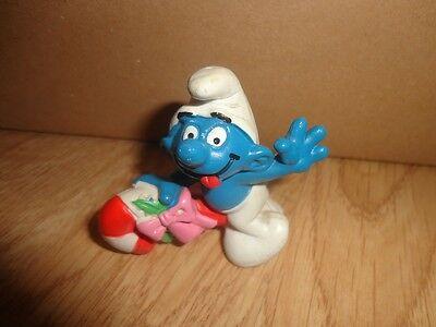 Christmas Smurf Riding a Candy Cane, Schlumpfe, Schlumpf Made in Portugal