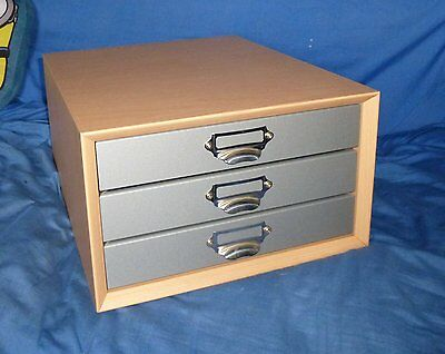 Beech & Silver Wooden 3 Drawer A4 Paper Storage Cabinet