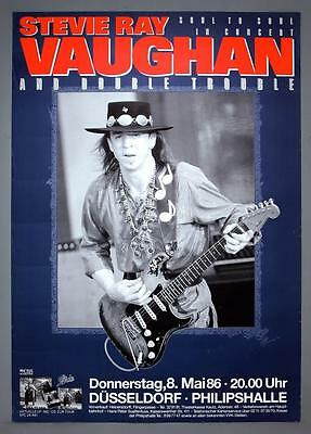 """STEVIE RAY VAUGHAN - rare original Germany 1986 """"Soul to Soul"""" concert poster"""