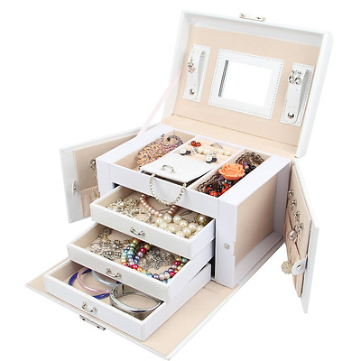 Large Jewellery Box Storage Solutions organiser Synthetic Leather 3 Drawer White