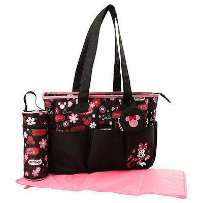 Diaper Bag + Bottle & Pacifier Tote Minnie Mouse Black Pink Shout Outs New