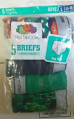 Fruit of the Loom Briefs Kids Size L/14-16 ~ 5 Pair Pack New