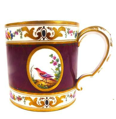 C1781 Antique Sevres Cup Birds Panels Maroon Ground Tasse Gobelet Litron