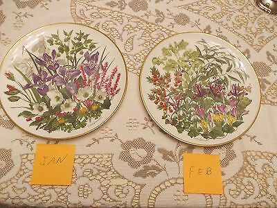 Franklin Mint Flowers of the Month Complete Set
