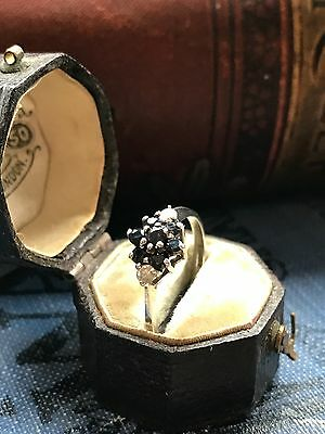 1980's Silver Sapphire Ring Size L 1/2
