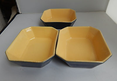 Denby Blue / yellow oblong dishes x 3